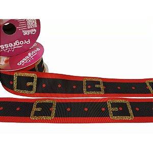Fita de Natal em Cetim Vermelho Cinto Papai Noel  EGP009TG 008 - 38mm x 10m - Progresso
