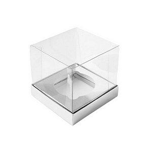 Caixa Mini Bolo G (8cm x 8cm x 8cm) Prata 10 unidades Assk Rizzo Confeitaria