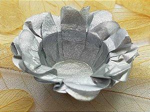 Forminha para Doces Floral em Seda Prata - 40 unidades - Decorart