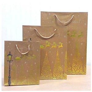 Sacola de Papel Kraft - Merry Christmas - Trenó Renas com Detalhes em Dourado