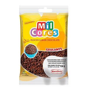 Flocos Crocante Sabor Chocolate 150 g Mil Cores Mavalério Rizzo Confeitaria
