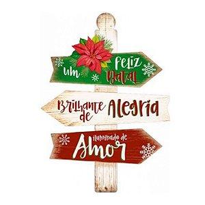 Placa Decorativa em MDF - Decor Home Natal - Um Feliz Natal - DHN-028 - LitoArte Rizzo Confeitaria