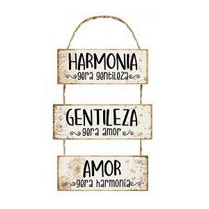 Placa Decorativa em MDF - Harmonia Gera Gentileza - DHPM6-051 - LitoArte Rizzo Confeitaria