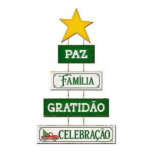 Placa Decorativa em MDF -Decor Home Natal - Pinheiro, Paz, Família - DH6N-003 - LitoArte Rizzo Confeitaria