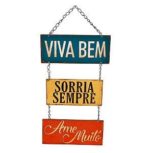 Placa Decorativa em MDF - Viva Bem, Sorria Sempre- DHPM5-230 - LitoArte Rizzo Confeitaria