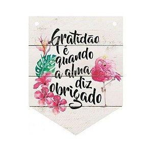 Placa Decorativa em MDF - Flamingo e frase gratidão - DHPM5-225 - LitoArte Rizzo Confeitaria