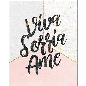 Placa Decorativa em MDF - Viva, Sorrie, Ame - DHPM-461 - LitoArte Rizzo Confeitaria