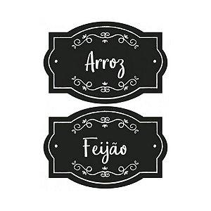 Etiqueta Lousa Adesiva em Vinil - Arroz, Feijão - EAL2-006 - LitoArte Rizzo Confeitaria
