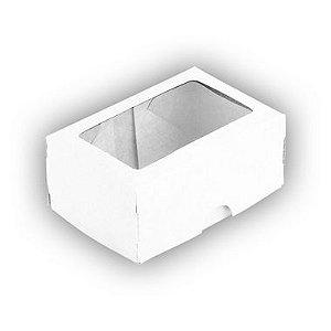 Caixa para 2 Doces com Visor S1 Branca - 6cm x 9cm x 4cm - 10 unidades Assk Rizzo Confeitaria