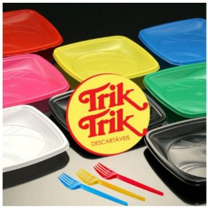 Kit Sobremesa  Prato e Garfo  10 Unidades - Trik Trik - Rizzo Embalagens