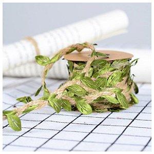 Fio Decorativo Juta com Folhas 3m - ArtLille Rizzo Confeitaria