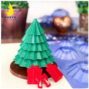 Forma de Acetato Árvore Natal 3D - Porto Formas - Ref 859 - Rizzo Confeitaria
