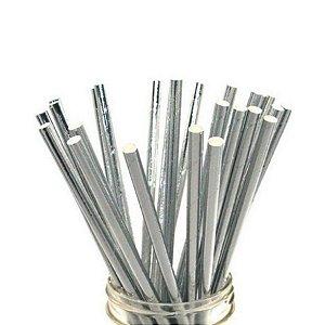 Canudo Biodegradável Liso Prateado - 15 un -  Silver Festas