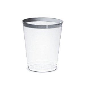 Copo água Borda Prata - 12 un - 300 ml - Silver Festas