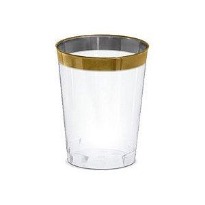 Copo água/refrigerante Borda Dourada - 4 un - 300 ml - Silver Festas