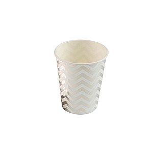 Copo de papel Missoni Prateado Biodegradável - 10 un - 270 ml - Silver Festas