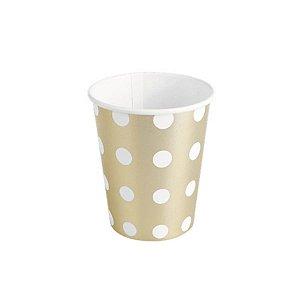 Copo de papel Poa Dourado Biodegradável- 10 un - 270 ml - Silver Festas