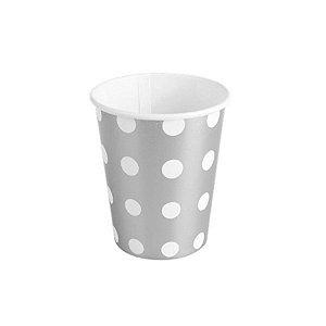Copo de papel Poa Prata Biodegradável- 10 un - 270 ml - Silver Festas