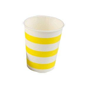 Copo papel Listrado Amarelo Biodegradável - 10 un - 270 ml - Silver Festas