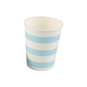 Copo papel Listrado Azul Bebe Biodegradável - 10 un - 270 ml - Silver Festas
