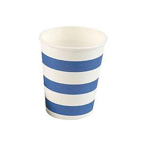 Copo papel Listrado Azul Biodegradável- 10 un - 270 ml - Silver Festas