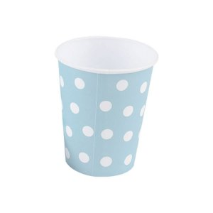 Copo papel Poa Azul Bebe Biodegradável - 10 un - 270 ml - Silver Festas