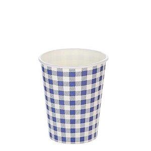 Copo papel Xadrez Junina Azul Biodegradável - 10 un - 270 ml - Silver Festas