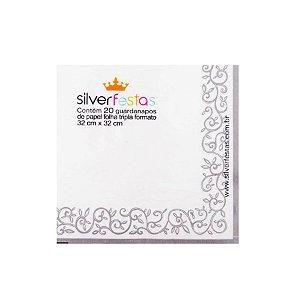 Guardanapo estampado folha dupla - 20 un - Ref.GE33071 - 33x33 cm - Silver Festas
