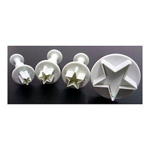 Jogo Ejetor Plástico Estrela 4 peças - Confeitudo