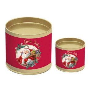 Lata para Panetone Papai Noel - 01 unidade - Cromus Natal - Rizzo