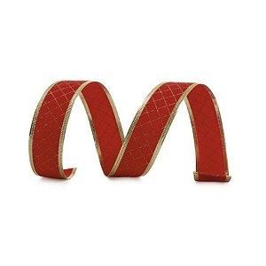 Fita Veludo Quadriculada Vermelho e Ouro 3,8cm - 01 unidade 10m- Cromus Natal - Rizzo