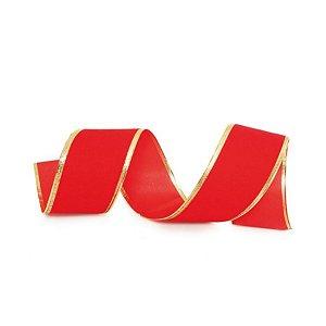 Fita Veludo Vermelho 6,3cm - 01 unidade 9,14m - Cromus Natal - Rizzo