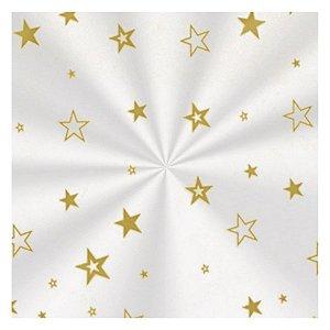 Saco Decorado Estrela Ouro - 10x14cm - 100 unidades - Cromus - Rizzo