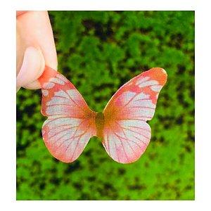 Enfeite decorativo Borboleta Tecido Rosa Mesclado - 10uns - Rizzo Confeitaria