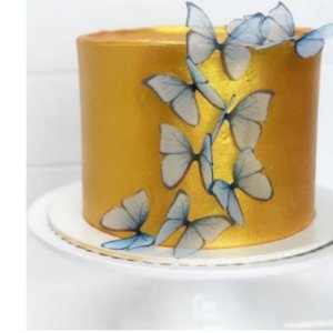 Enfeite decorativo Borboleta Tecido Azul - 10uns - Rizzo Confeitaria