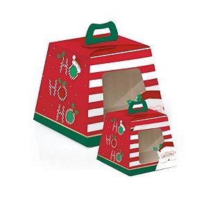 Caixa para Panetone Visor HoHoHo - 10 unidades - Cromus Natal - Rizzo Confeitaria