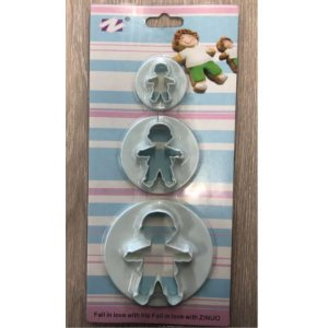 Jogo de Cortadores Plástico Menino 1336 - 3 peças - YDH