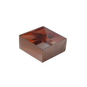 Caixa com Tampa Transparente PVC Nº 4 Marrom - 12cm x 4,5cm x 3,5cm - 10 unidades Assk Rizzo Confeitaria