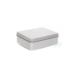 Lata Retangular para Lembrancinha Prata - 11,5 x 19cm - Artegift - Rizzo