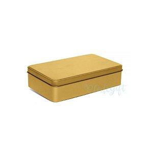 Lata Retangular para Lembrancinha Ouro - 11,5 x 19cm - Artegift - Rizzo