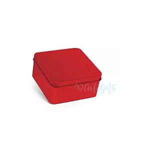Lata Quadrada para Lembrancinha Vermelha M - 9,5 x 4,5cm - 6un - Artegift - Rizzo
