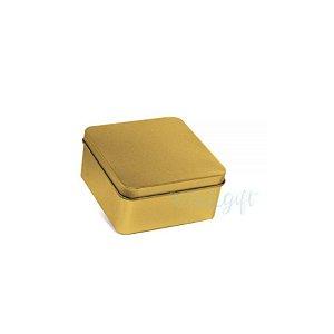 Lata Quadrada para Lembrancinha Ouro M - 9,5 x 4,5cm - 6un - Artegift - Rizzo