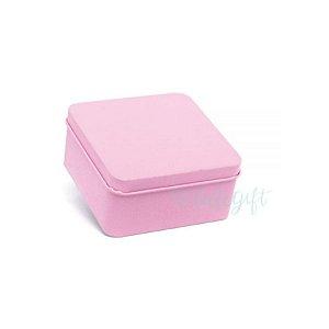 Lata Quadrada para Lembrancinha Rosa M - 9,5 x 4,5cm - 6un - Artegift - Rizzo