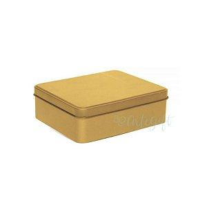 Lata Retangular para Lembrancinha Ouro - 12 x 9 x 4cm - 6un - Artegift - Rizzo