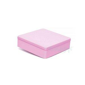 Lata Quadrada para Lembrancinha Rosa G - 19,5 x 5,5cm - Artegift - Rizzo