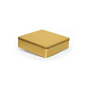Lata Quadrada para Lembrancinha Ouro G - 19,5 x 5,5cm - Artegift - Rizzo