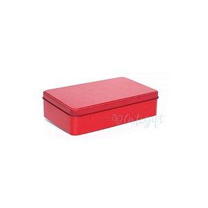 Lata Retangular para Lembrancinha Vermelha - 11,5 x 19cm - Artegift - Rizzo