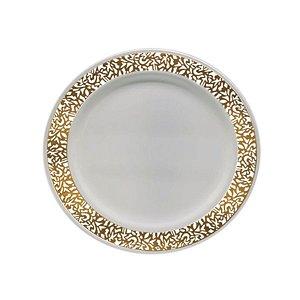 Prato Sobremesa Vazado Dourado  - 6 un - Silver Festas