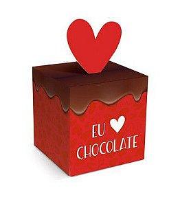 Caixa Pop Up Eu Amo Chocolate P 7x7x7cm - 10 unidades - Cromus Páscoa - Rizzo Confeitaria