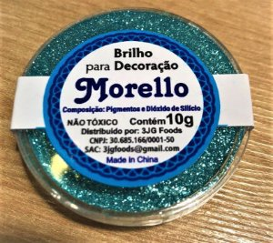 Pó para Decoração - Brilho Azul Claro - Morello - 10g - Rizzo Confeitaria